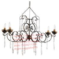 YL-L1015 antique iron metal modern chandelier, led  iron hanging lamps with K9 crystal