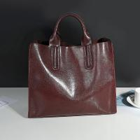 Quality Cowhide Casual Tote Black Leather Handbags With Mobile Phone / Document Pocket for sale