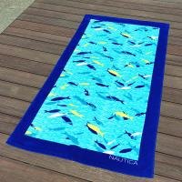 Quality Blue Fish Printed Beach Towels 100% Combed Cotton Fabric Quick Dry for sale