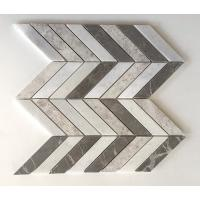 Quality Chevron Brown Silver Marble Mixed Mosaic Tiles , 12x12 Mosaic Tile Sheets for sale
