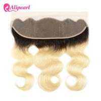 China 1B 613 Blonde Body Wave Hair Weave With 13×4 Lace Frontal Closure on sale