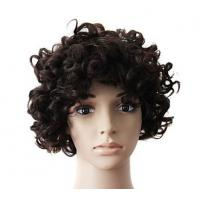 Buy Brown Natural Human Hair Wigs With Bangs , Short Curly Human Hair Wigs at wholesale prices