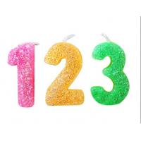 Buy Rainbow Color Glitter Number Candles For Birthday / Charistmas / Party Decoration at wholesale prices
