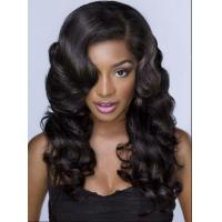 Quality Elegant 25 Inch / 26 Inch Brazilian Curly Human Hair Wigs For Laides for sale
