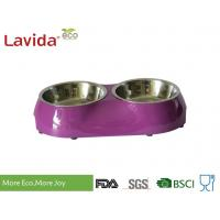 Buy cheap Shatter Proof Melamine Pet Bowl , Non - Flammable Pet Feeding Tray With 2 Bowls from wholesalers