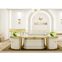 Quality Rectangle Jewelry Showroom Display Cabinets Gold Stainless Steel Wood Material for sale