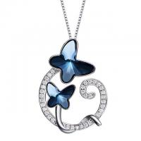 Buy cheap Hollow Heart Crystal Gemstone Jewelry , Crystal Pendant Necklace With Butterfly from wholesalers