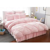 Buy Pink / Blue / White Ruched Home Comforter Bedding Sets 4 Pcs 100% Cotton at wholesale prices