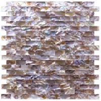 Quality Mini Brick Natural Oyster Shell Tile , Split Faced Pool Mosaic Tiles for sale