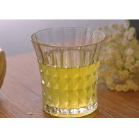 Quality 200ml 7oz Clear Embossed water tumbler glass for Soft Drink , Dimond Design for sale