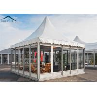 Quality White Color PVC Roof Pagoda Tents With Clear Glass Wall UV - Resistant for sale