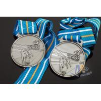 Quality Sports Skiing Event 3D Effect Metal Award Medals With Antique Silver Plating Stripe Ribbon for sale