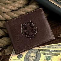 China Men's Bifold Genuine Leather Card Holder Coin Money Purse Zipper on sale