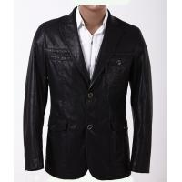 Black / Dark Red, Fashion 100% Viscose and Knitting Two Buttons Mens Leather Blazers