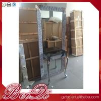 Quality Dressing table with light mirror used beauty salon furniture gold frame hair salon station mirror for sale