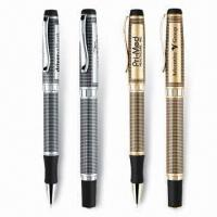 Quality Unique Grid Pattern Ballpoint/Rollerball Pens, Heavy Weight Brass Construction, Gel Ink is Available for sale