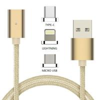 Quality 3 In 1 Magnetic USB Type-C Cable Charging / Data Sync / Lightning Micro USB Cable for sale