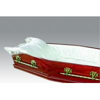 Quality Funeral Wooden Coffin , Cherry Paper Veneer Solid Wood Casket Euro Style for sale