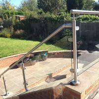 Quality 2'' Pipe Handrail Balcony / Terrace Stainless Steel Glass Railing Designs for sale