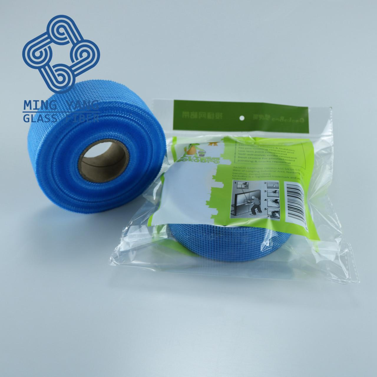 China Self Adhesive fiber glass mesh tape for covering drywall cracks and plasterboard joints on sale