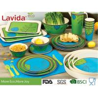 Buy cheap Food Grade Safe Bamboo Tableware Set Contrast Blue And Green Color Smooth Surface from wholesalers