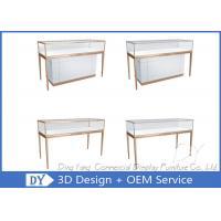 Quality Matte White Wooden Glass Display Cases For Jewelry And Watch Store for sale