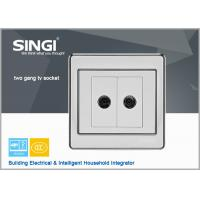 Quality 2 Gang TV Socket Mounting Coaxial Outlet Wall Plate Button SPST Square Wall Panel Light Switch for sale