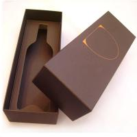 China Brown 6 * 14 * 5 Inch 1200gsm Single Bottle Cardboard Wine Boxes on sale
