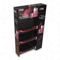 Quality Cosmetic Display Stand, Made of Corrugated Cardboard, with Plastic Hooks, Measures 60 x 40 x 160cm for sale