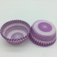 Quality Purple Round Shape Muffin Paper Cups, Striped Cupcake LinersFDA SGS Standard for sale