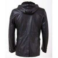 Warm and Personality, Designer Black / Dark Red / Yellow Hooded Leather Coat