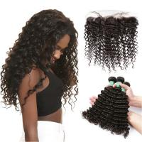 Quality Smooth Deep Wave Bundles With Lace Frontal 8A Virgin Brazilian Hair / Soft Black Human Hair for sale