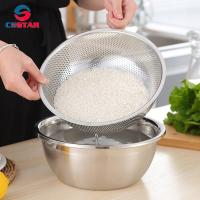Buy cheap Round Stainless Steel Fine Mesh Food Strainer Basket Vegetable Fruit Noodles Colander for kitchen Washing Rinsing Draini from wholesalers