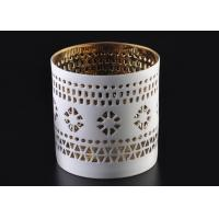 Quality Pierced 8cm Height handmade ceramic candle holders Golden Electroplated as Wedding Souvenir for sale