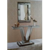 Unique V Style Narrow Mirrored Console Table With Match