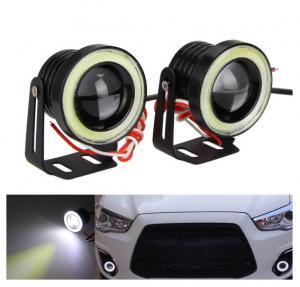 Quality Waterproof LED Auto Headlight Lighting Fog Light With Lens Halo Angel Eyes Rings COB 30W 12V for sale