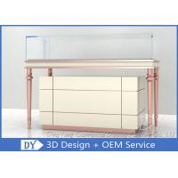 Quality Rose Gold Beige Wooden Glass Jewelry Showcases / Jewellers Display Cases For Sale for sale