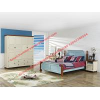 Quality Mediterranean Leisure Style bedroom furniture in blue sky painting wood bed in European winery modelling for sale