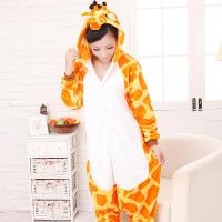 Quality Giraffe Cartoon Flannel Conjoined Pajamas for sale