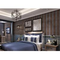 Buy Embossed Contemporary Wall Coverings with Vertical Stripes Pattern , Coffee and Black at wholesale prices