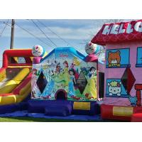 Pink Hello Kitty Inflatable Bouncer , Blow Up Kids Bouncy Castle For Backyard