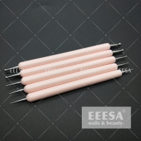 Quality Wooden Handle Hot Baby Pink Beauty Dotting Tools Nail Art Pen ES80 for sale