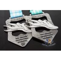 Quality Maration Cut Out Design Antique Silver Custom Sports Medals 10K And 5K Bespoke Medallions Full Color Ribbon for sale