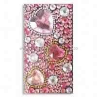 Quality 3-D Sparkling Mobile Phone Sticker with Pink Tone and Rhinestones, OEM Orders are Welcome for sale