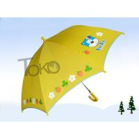Quality Cute Toddler Kids Rain Umbrellas 19 Inch Plastic Curved Handle Printed Logo for sale