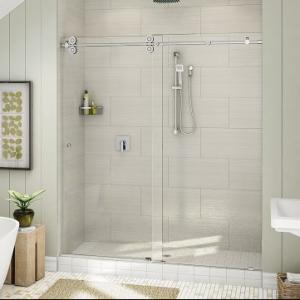 Quality Top Roller Bathroom Sliding Glass Door Frameless Shower Enclosure for sale