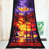 Quality Beautiful Sunrise Oversized Beach Towels Palm Tree Reactive Printing for sale