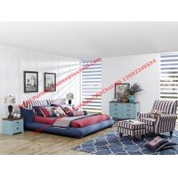 Quality Blue and white strip Upholstered furniture bedding ship type headboard with pillow and fabric surronding bedstead for sale