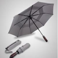 Quality Double Canopy Layer Automatic Open And Close Compact Umbrella Vented Grey Color for sale