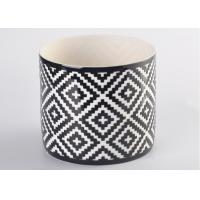 Quality Round square pattern Ceramic Candle Holder for table decorations , decal white inside for sale
